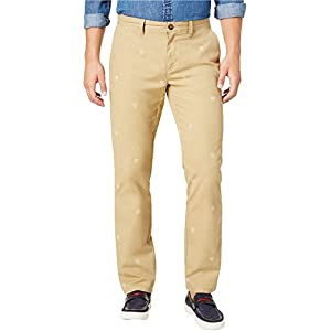 Tommy Hilfiger Mens Printed Custom Fit Chino Pants Tan 34/30
