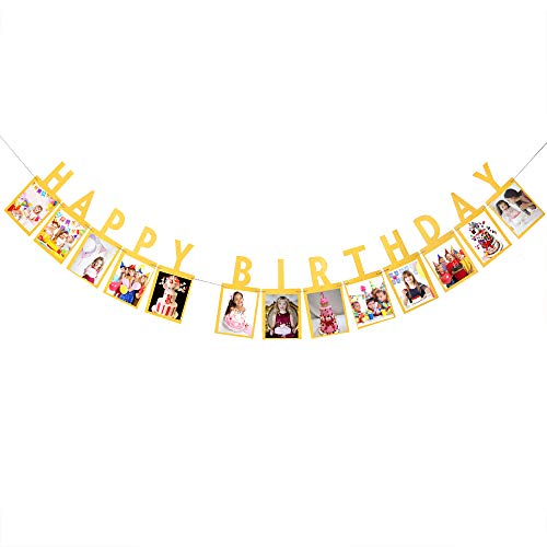 Gold Happy Birthday Photo Banner - Birthday Party Decorations for Baby, Teens and Adults - 1st 2nd 16th 18th 20th 30th 40th 50th Birthday Party Decorations