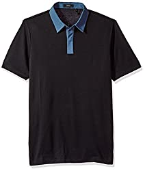 Theory Men's Covered Plaquet Dressy Polo, Night, S