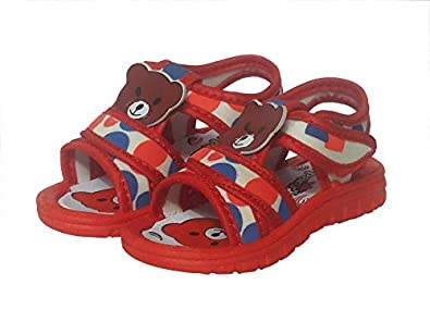 AirPark Unisex Kids Chu Chu Sound Musical First Walking Sandals for Baby Boys & Baby Girls (9-12 Month Red