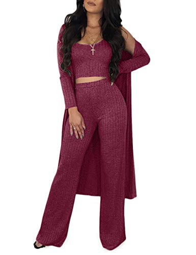 Women's Ribbed Autumn 3 Piece Outfit Vest Tank Top and Flared Bottom Pants with Long Cardigan Wine Red S (3 Piece Blouse)