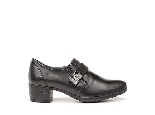 Zapato cómodo Abotinado Mujer de la Marca FLUCHOS, en Piel Color Negro con tacón 5 cm y elásticos Adorno Boton F0266-204: Amazon.es: Zapatos y complementos