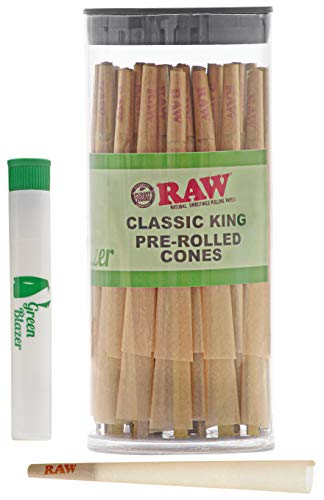 Raw Pre-Rolled Cones Classic King: 100 Pack - King Size Rolling Papers with Filter Tips - All Natural Slow Burning RAW Cone - Includes Green Blazer Doob Tube (Cone Pre Rolled Rolling Paper)