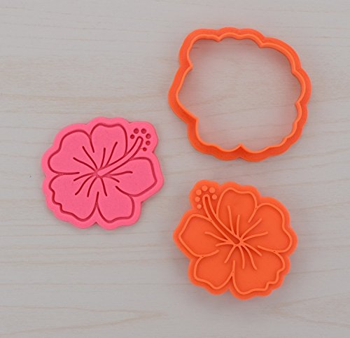 Hibiscus Cookie Cutter and Stamp Set (4.1 inches)