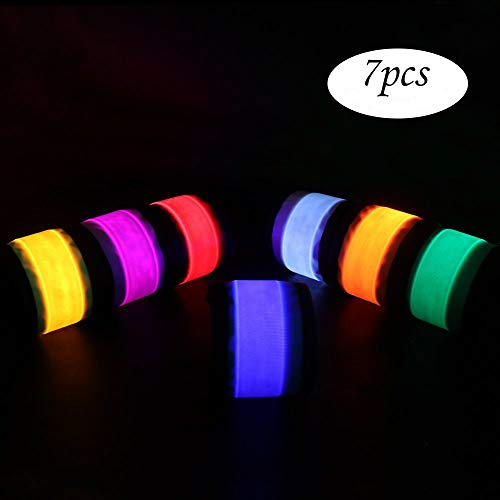 PROLOSO Pack of 7 LED Light Up Band Slap Bracelets Night Safety Wrist Band for Running Man Riding Walking Concert Party Camping Outdoor Sports with 8 Extra Button Battery