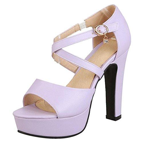 AicciAizzi Purple Toe Hauts Sandales Talons Peep Femmes 67xEqPwr6