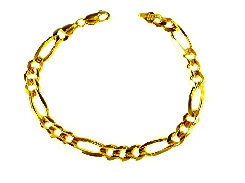 - 14K Solid Yellow Gold Mens Figaro Curb Link Chain/Bracelet 8.5