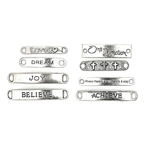 8PCS Antique Silver Rectangle Inspiration Words Charms Message Charm&Pendants with Two Holes Dream/Believe/Achieve/Joy/Love Connectors DIY Handmade Jewelry Making