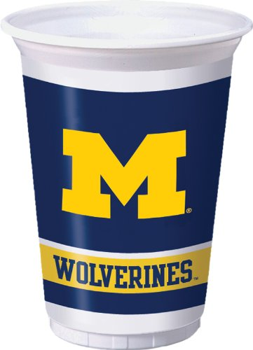 Michigan Wolverines Plastic Cups 8 Count