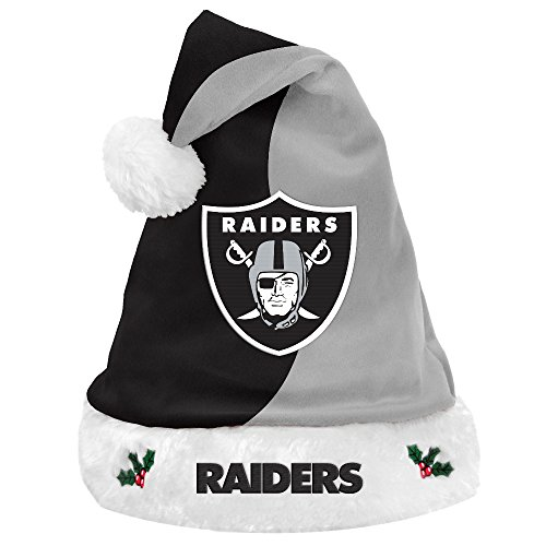 Oakland Raiders 2017 NFL Basic Logo Plush Christmas Santa Hat Holiday Santa Hat