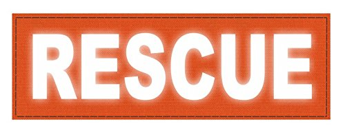 TACTICAL IDENTIFICATION PATCHES Rescue Patch - 6x2 - Reflective Lettering - Orange Backing - Hook Fabric