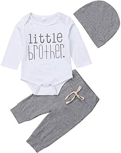 Pasgeboren Baby Boy Little Broer Kleding Baby Lange Mouw Romper Bodysuit Tops+Broek Leggings Hoed Outfit Kleding Set