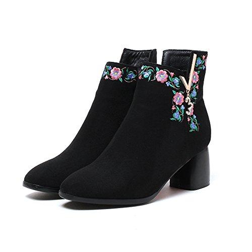 Style El Botas Zapatos Grueso Zapatos Retro black Tacon Invierno Todo Folk KPHY De Tela Beijing De Bordados Botas Partido Old Alto Botas Zapatos q7ZpFY