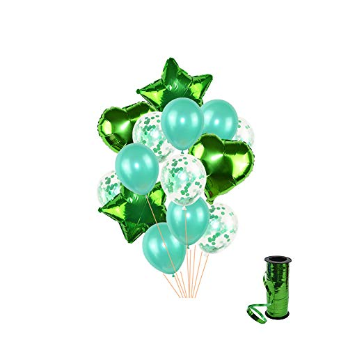 Green Heart Latex - Green 18 inch Star Heart Balloons 12 inch Latex Balloon Confetti Balloon with Ribbon for Party Graduation Wedding Decorations