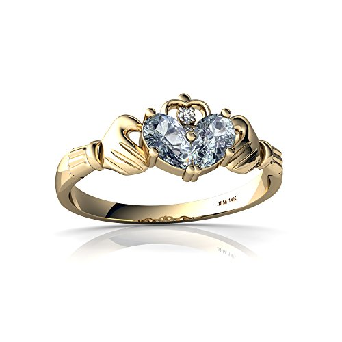 14kt Yellow Gold Aquamarine and Diamond 5x3mm Pear Claddagh Ring - Size 6.5 ()