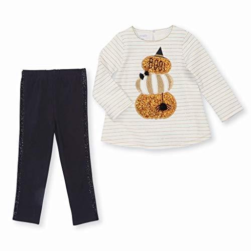 (Mud Pie Baby Girls Halloween Pumpkin Tunic & Legging 2 Piece Set, White 12-18)