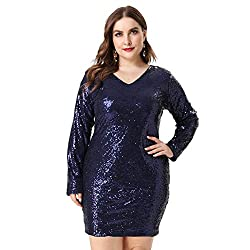 Plus Size V Neck Full Sleeves Blue Cocktail Dress