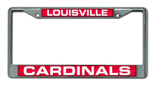 Cardinals Laser - Rico Industries NCAA Louisville Cardinals Laser Cut Inlaid Standard Chrome License Plate Frame