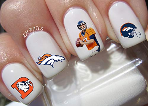Denver Broncos Water Nail Art Transfers Stickers Decals - Set of 46 -