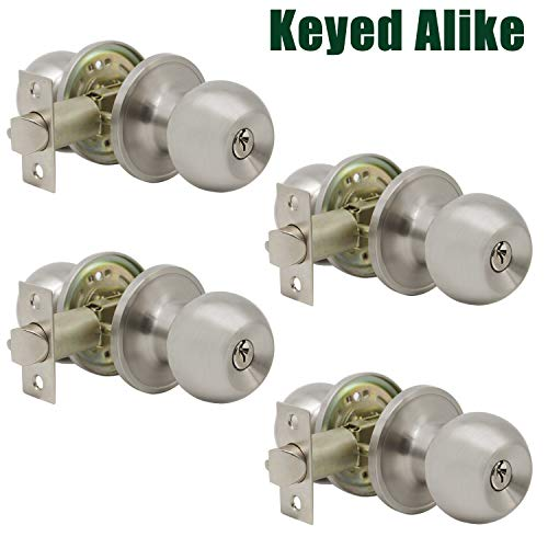 - Probrico (4 Pack) keyed Alike Door Knobs Combo Pack, Entrance Lockset in Brushed Nickel, Entry Door Knobs, Gate Front Door Hardware, Indoor and Outdoor