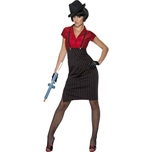 Smiffy's Women's 1920S Gangster Costume and with Skirt Shirt Braces and Gloves, Red/Black, Medium (1920 Gangster Costumes)