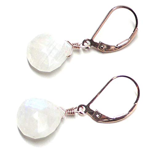 Rainbow Moonstone Briolette Lever Back Earrings Rose Gold-Filled