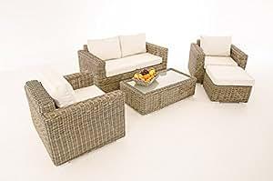 2–1de 1cp050Mobiliario de jardín Asiento Grupo Muebles de Salón de Polirratán ~ Cojín Cremeweiß, natural