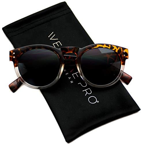 Vintage Inspired Mirror Lens Round Horned Rim Frame Retro Sunglasses (Tortoise Clear/Black Lens, 55) (Sunglasses Black Frame Inspired)