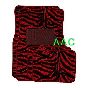 Oxgord Front Seat ZebraTiger Stripe Carpet Mats for for CarTruckVanSUV, Red Black