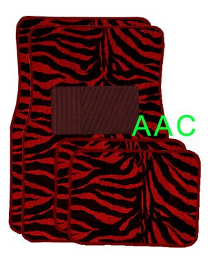 Oxgord Front Seat ZebraTiger Stripe Carpet Mats for for CarTruckVanSUV, Red Black (Mg Hi Nu)