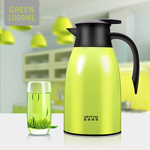 - UPSTYLE Thermal Carafe, 34oz Big Capacity Coffee Carafe Double-Wall Vacuum Insulated Stainless Steel Thermos Coffee Pot, Jug Flask, Tea Pot Water Pitcher with Press Button (Green)