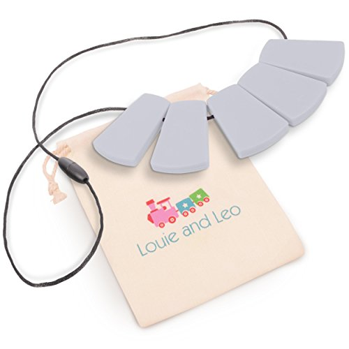 Louie and Leo Big Block Silicone Teething Necklace for Mom (GRAY)