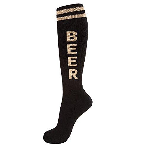Gumball Poodle Beer Athletic Knee Socks (Black/Tan,O/S)