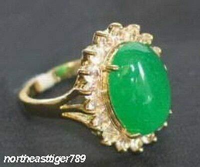FidgetGear Emerald Green Jade 18KGP Crystal Ring Size: 6.7.8.9 7