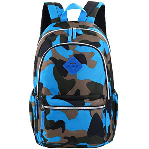 Vbiger Girl's & Boy's Backpack for Middle School Cute Bookbag Outdoor Daypack (Blue(camouflage)) ()
