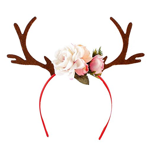 Fawn Costume Headband (Girls Deer Antlers Ears Flower Headband Cosplay Costume (brown))