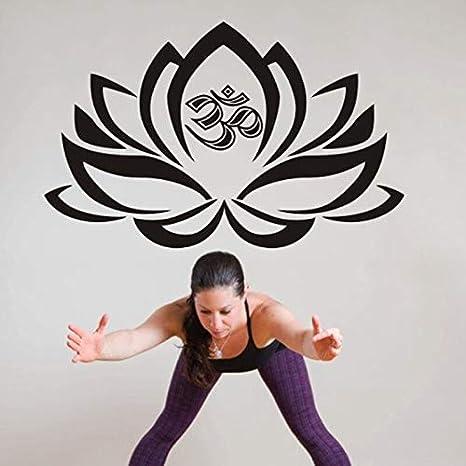Tianpengyuanshuai Yoga Club Tatuajes de Pared Lotus Fitness póster Vinilo Tatuajes de Pared decoración del hogar Mural Decorativo Yoga stickers58X91cm