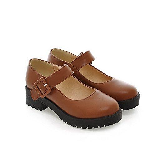 Balamasa Ladies Buckle Square Heels Plataforma De Uretano Bombas-zapatos Amarillo