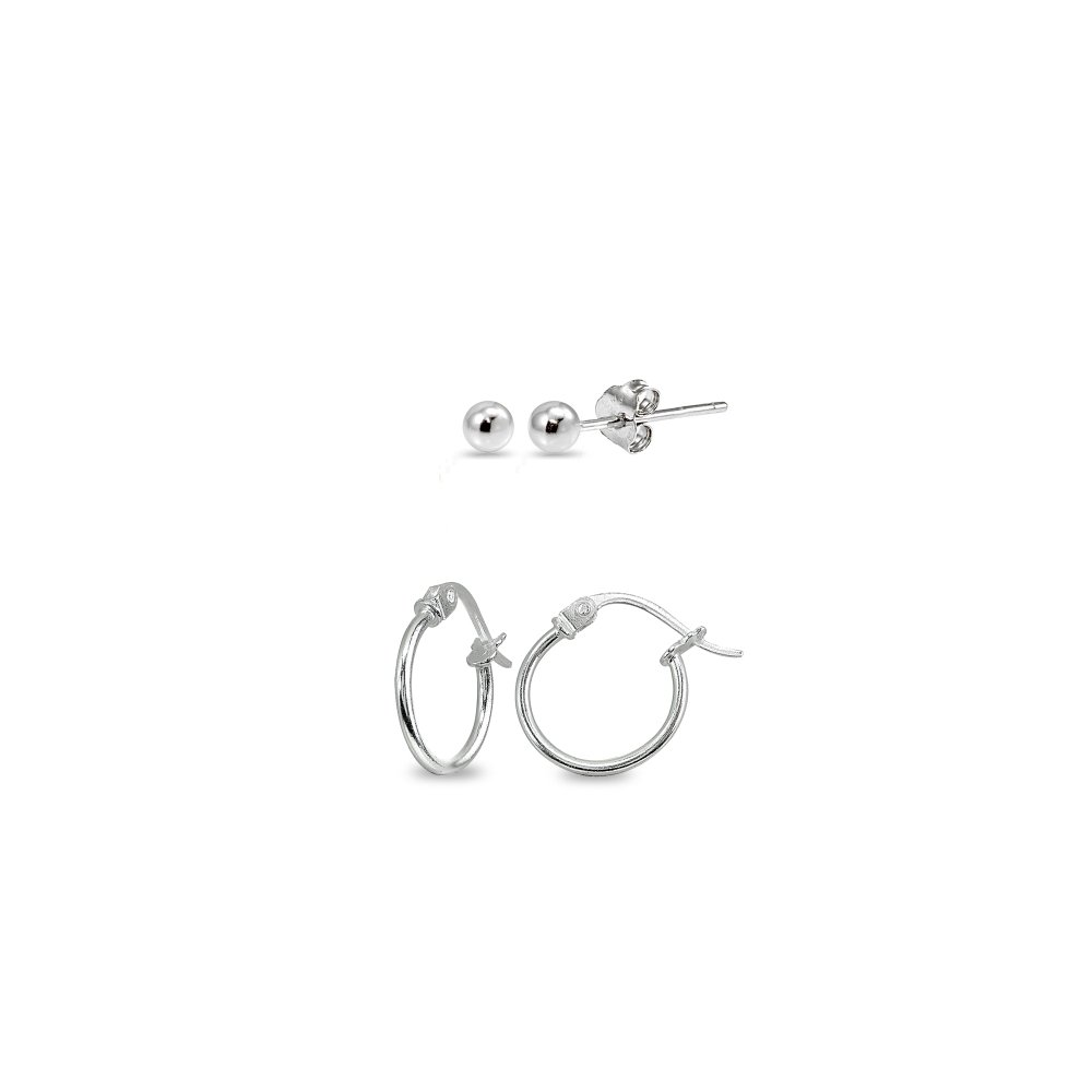 2 Pairs Sterling Silver Unisex 12mm Tiny Small Hoops and 3mm Bead Ball Stud Earrings Set