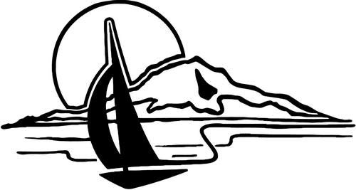 Mandy Graphics Sunset Sailing Sailboat Vinyl Die Cut Decal Sticker for Car Truck Motorcycle Windows Bumper Wall Home Office Decor Size- [6 inch/15 cm] Wide and Color- Gloss White