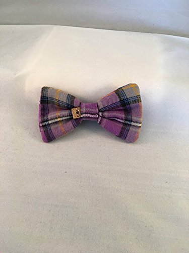 857660ce2b16 Amazon.com: Purple Gray White Plaid | Easter | Dog Bow Tie | Slides Over  Collar: Handmade
