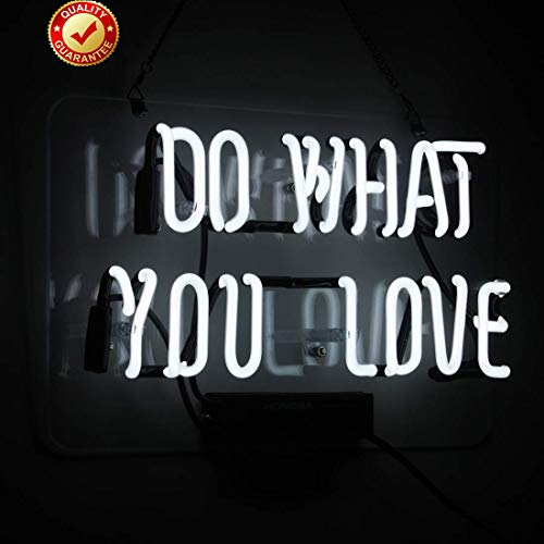 Neon Lights Do What You Love Neon Sign White Office Bar Sign 14 x 9 Inch Neon Light Sign for Bedroom Living Room Christmas Party Decor Ultra Bright Neon Night Light ()