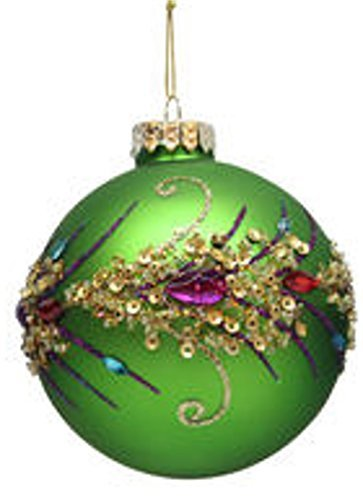 december diamonds blown glass ornament peacock themed ball ornaments green - Peacock Themed Christmas Tree