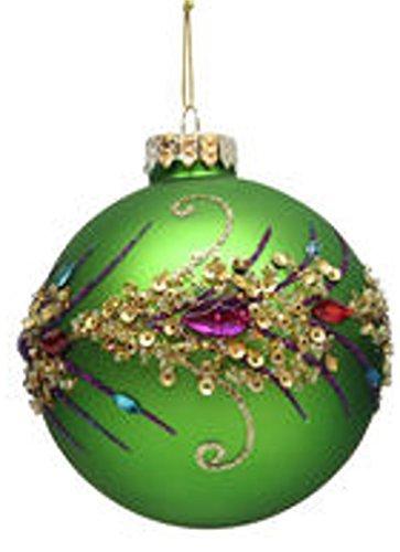December Diamonds Blown Glass Ornament - Peacock Themed Ball Ornaments (Green)