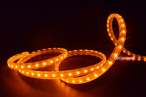 CBConcept® 120VSMD5050-4M-Y 13 Feet YELLOW 120 Volt High Output LED SMD5050 Flexible Flat LED Strip Rope Light - [Christmas Lighting, Indoor / Outdoor rope lighting, Ceiling Light, kitchen Lighting] [Dimmable] [Ready to use] [7/16 Inch Width X 5/16 Inch Thickness]