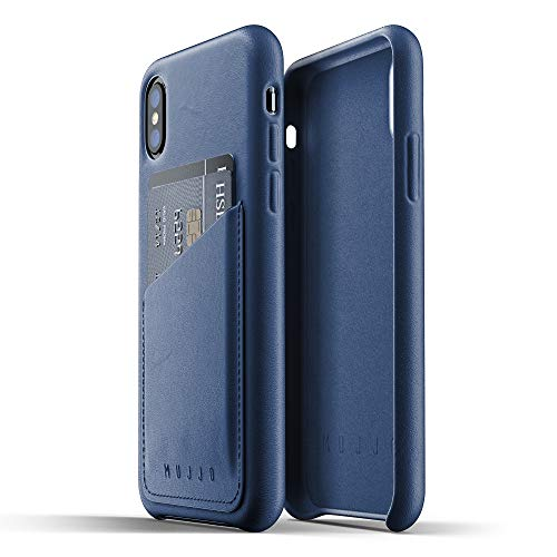Mujjo Full Leather Wallet Case for iPhone Xs, iPhone X   Genuine Leather, Natural Aging Effect   2-3 Card Pocket, Wireless Charging (Morocco Blue)