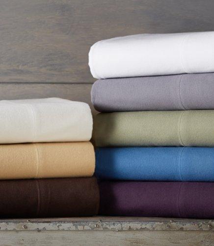 Pinzon Signature Cotton Heavyweight Velvet Flannel Sheet Set - Queen, Aubergine