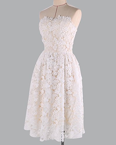 Blanc Femme Soire Mini Nu Manches Robe Dos sans Dentelle de Robe Robe Crmonie de OTxgSS