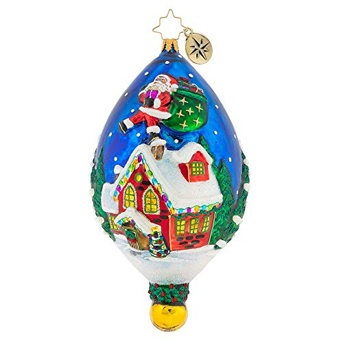 (Christopher Radko Rooftop Visitor Christmas Ornament, Blue, red, White)