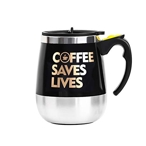 Update Self Stirring Mug Auto Self Mixing Stainless Steel Cup for Coffee/Tea/Hot Chocolate/Milk Mug for Office/Kitchen/Travel/Home -450ml/15oz (Black) (Coffee Saves ()